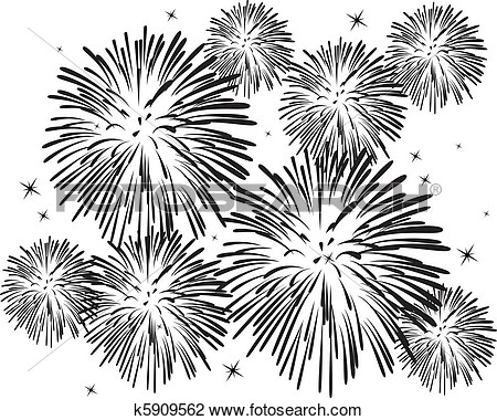 Clipart   Black And White Fireworks   Fotosearch   Search Clip Art