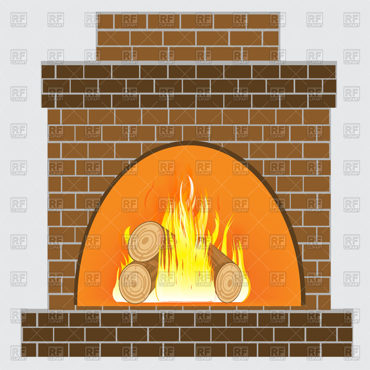 Fireplace From Brick And Burning Firewood 91228 Download Royalty