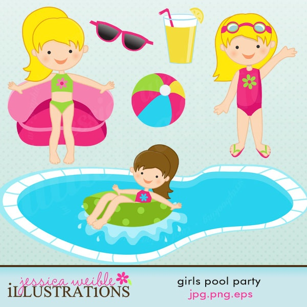 Girls Pool Party Clipart - Clipart Kid