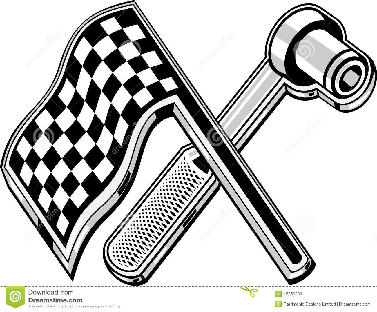 Illustration Of A Checkered Flag With Socket Wrench Crossed