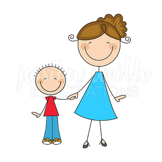 Mom And Son Stick Figures Cute Digital Clipart   Commercial Use Ok
