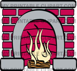 Rf  Clipart Illustration Of A Log Burning In A Red Brick Fireplace