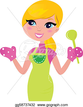 Stock Illustration   Cute Blond Woman Cooking Healthy Food  Vector