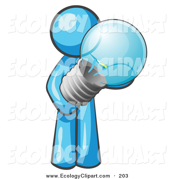 Vector Clip Art Of A Caring Light Blue Man Holding A Glass Electric