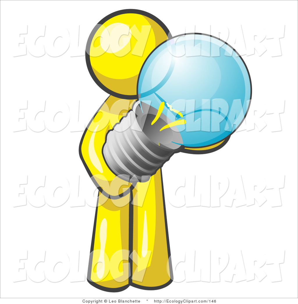 Vector Clip Art Of A Cute Yellow Man Holding A Glass Electric