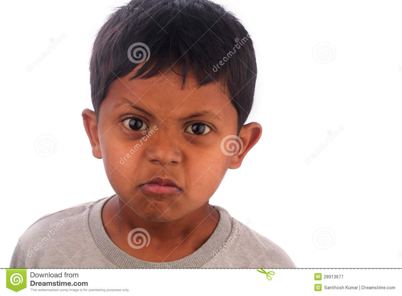 Angry Frustrated Irritated Young Boy Kid  Isolated On White Royalty