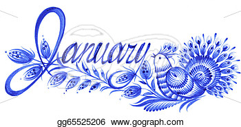 Clipart   January The Name Of The Month   Stock Illustration