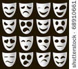 Emotion On Faces Stock Vector Clipart Set Of Human And Fantasy Faces