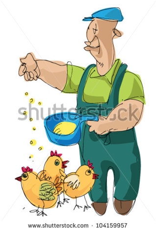 Farmer Feeding Chickens   Stock Vector