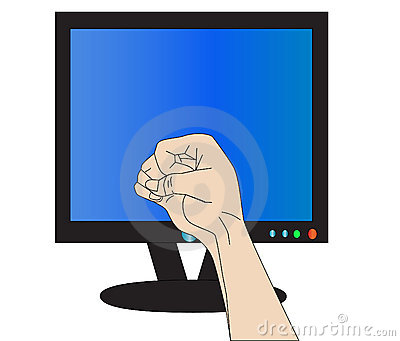 Fist Threatens Monitor Royalty Free Stock Images   Image  16560309