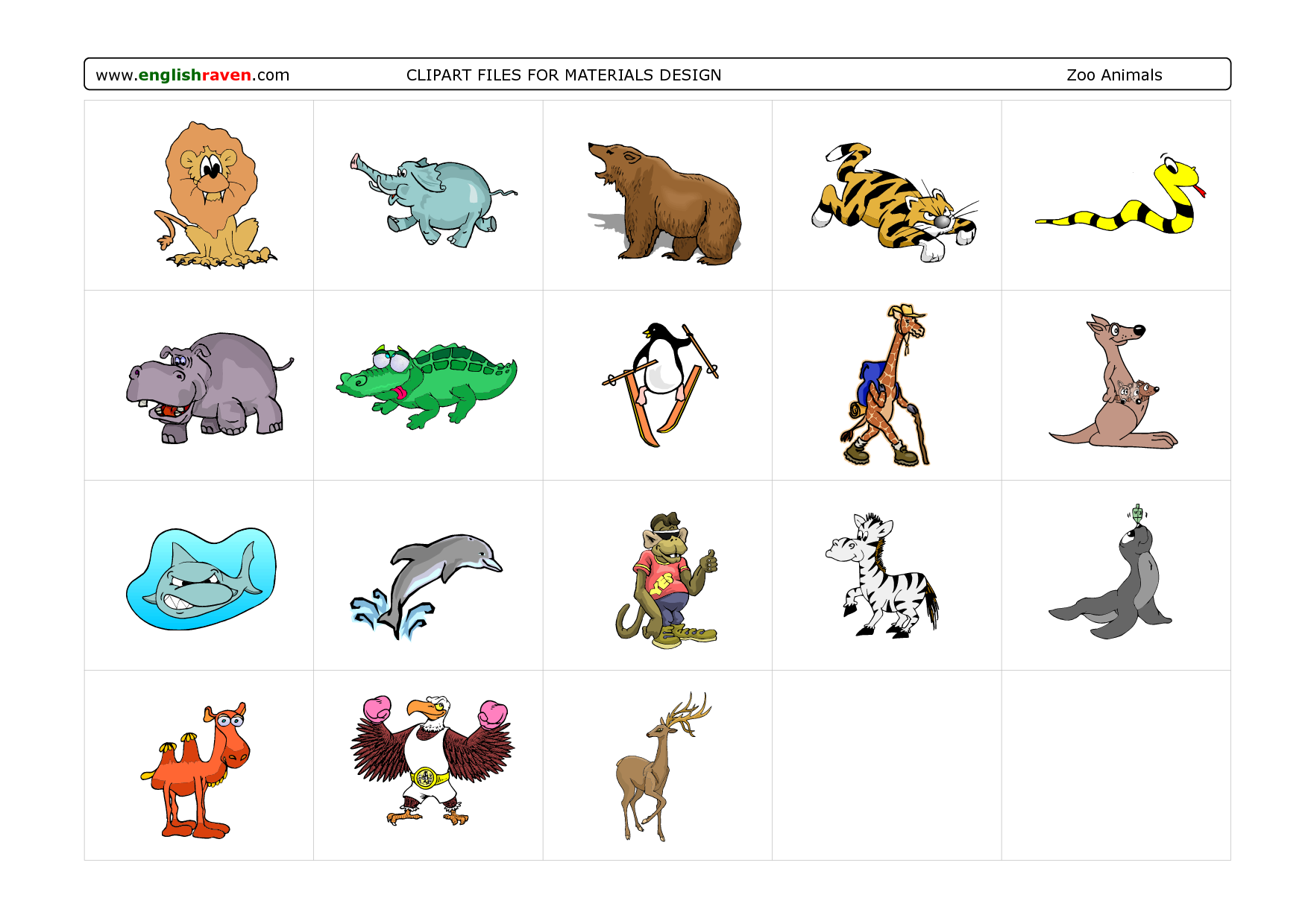 Zoo Animals Together Clipart Zoo Animals Gro...