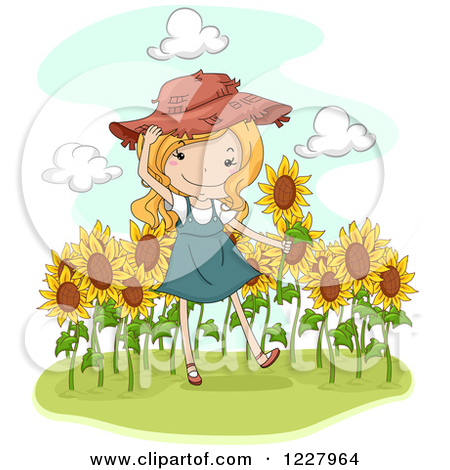 Happy Blond Country Girl In A Sunflower Field By Bnp Design Studio