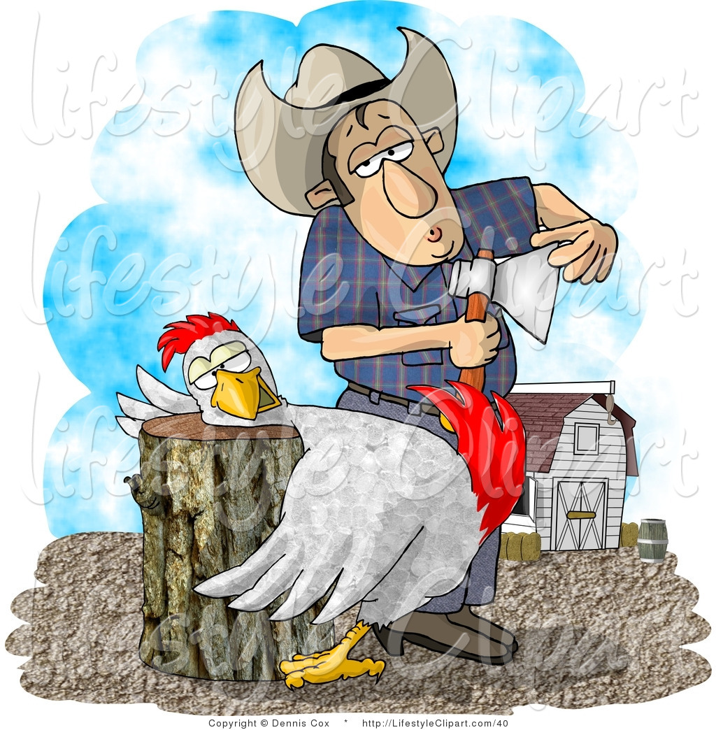 Lifestyle Clipart Of A Farmer With An Axe And A Chicken With Its Head