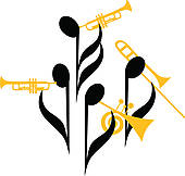 Notes Brass Band   Royalty Free Clip Art