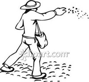 Of A Farmer Throwing Chicken Feed   Royalty Free Clipart Picture