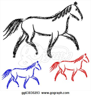 Stock Illustration Horses Outlines Vector Collection Clipart