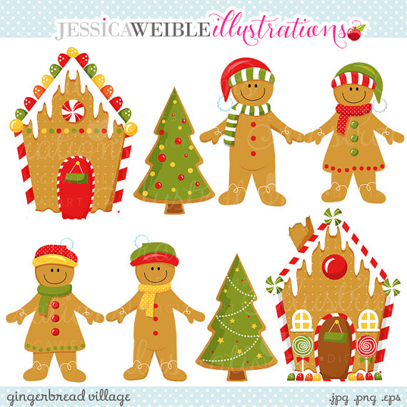 Village Cute Digital Clipart   Commercial Use Ok   Gingerbread Clipart