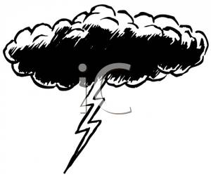 Black And White Lightning Cloud   Royalty Free Clipart Picture