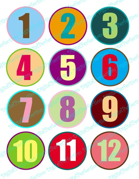 Colorful Numbers 1 To 12 On 60 Mm  2 36 Inch  Circles For Your Artwork
