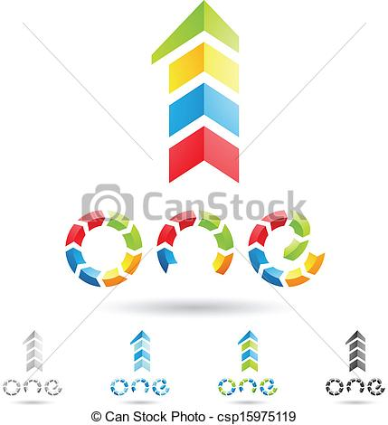 Vector Clip Art Of Colorful And Abstract Icons For Number 1 Set 8
