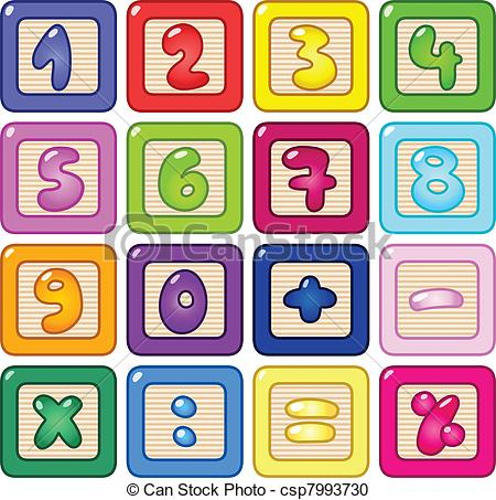 Vector Clipart Of Number Blocks   Colorful Number Blocks Csp7993730