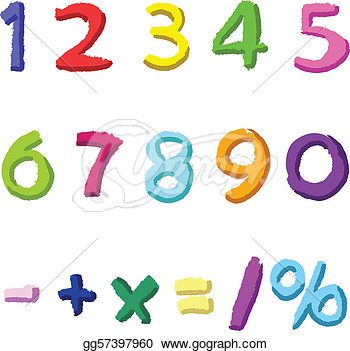 Vector Stock   Colorful Hand Drawn Numbers  Stock Clip Art Gg57397960