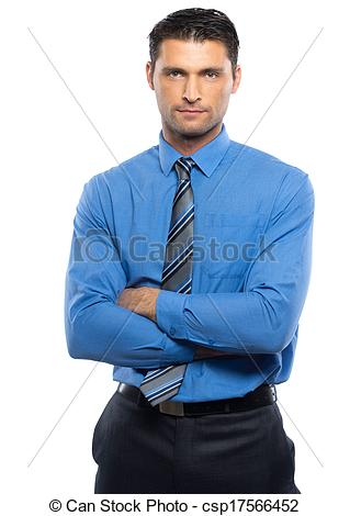 Handsome Young Man In Blue Shirt And Tie Isolated On White Background