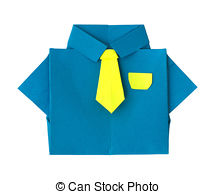 Origami Blue Shirt With Tie Stock Illustration