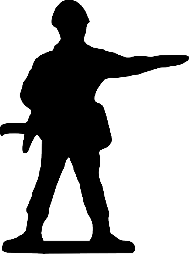 Point Silhouette Cartoon Stand Toy Soldier   Public Domain