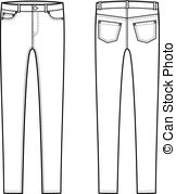Skinny Pants   Vector Illustration Of Skinny Jeans Front And