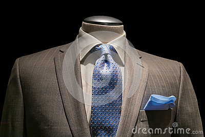 Striped Jacket With Textured White Shirt Patterned Blue Tie And Blue