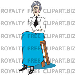 Teacher In A White Shirt Black Tie And Blue Sirt Seated On A Stool