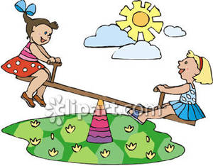 Two Little Girls Playing On A Teeter Totter   Royalty Free Clipart