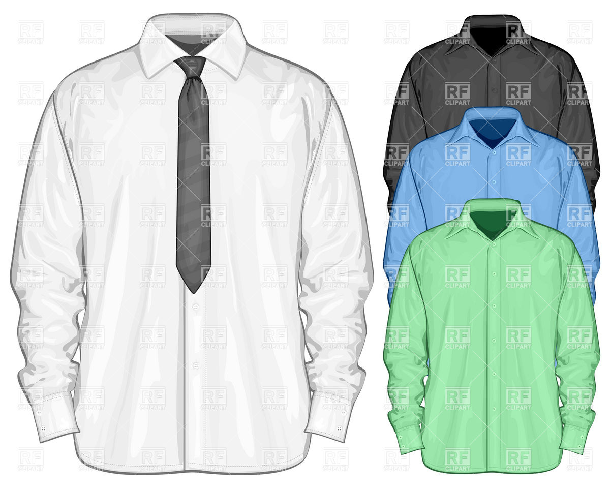White Dress Shirt With Necktie Download Royalty Free Vector Clipart