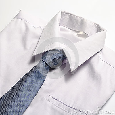 White Shirt With Blue Tie Stock Photo   Image  46742187