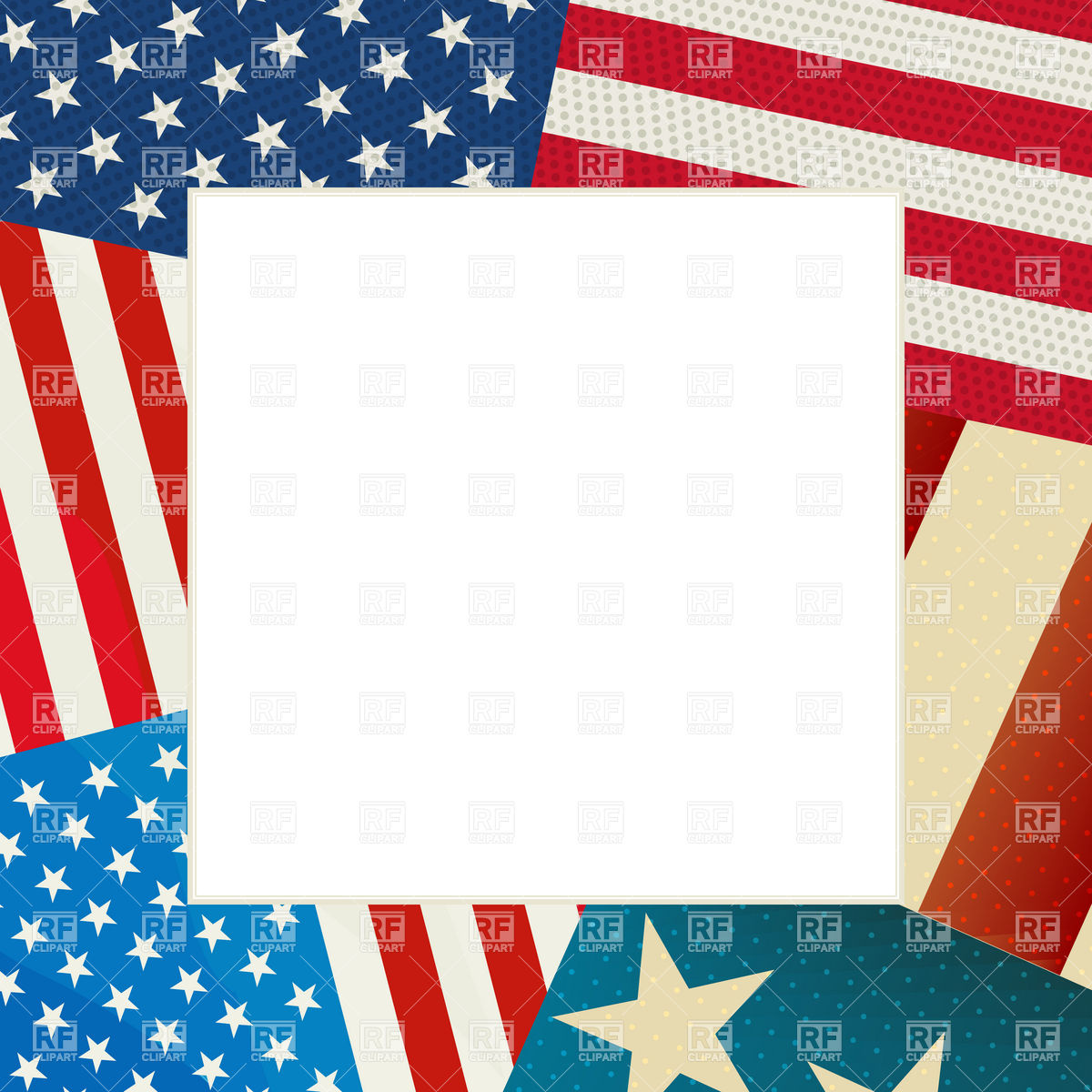 American Flag Border Clip Art Copy Space And Usa Flag