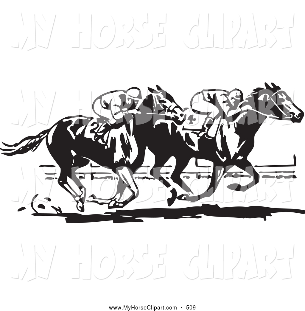 Art Of A Retro Black And White Neck And Neck Horse Race By Bestvector