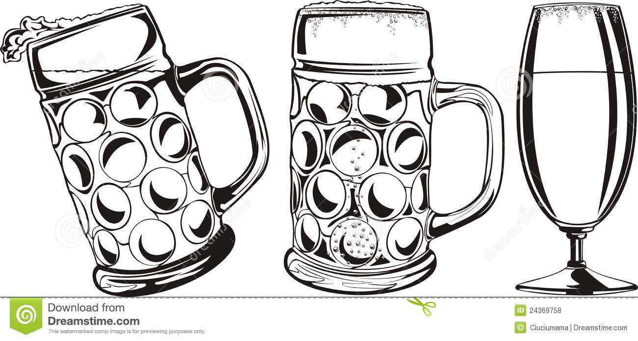 Beer Glass Clip Art Black And White Beer Mug And Glass   Black And