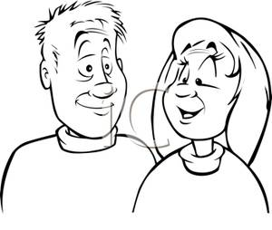Black And White Cartoon Of A Couple Wearing Turtle Neck Sweaters