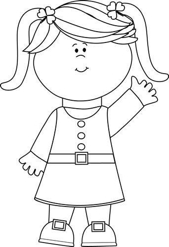 Black And White Cute Saint Patrick S Day Girl Clip Art Image   Little