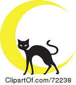 Clipart Illustration Of A Black Cat In Front Of A Yellow Crescent Moon