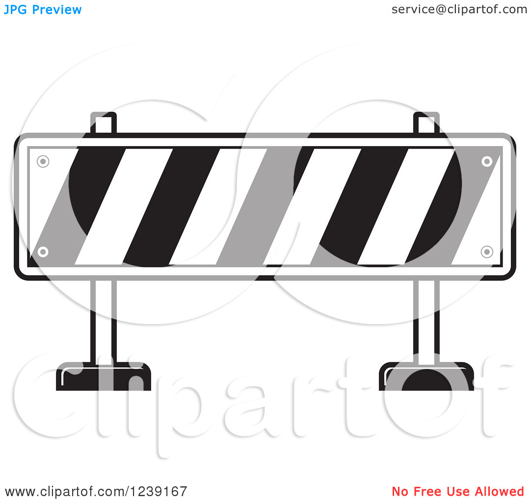 Clipart Of A Black And White Road Block Construction Barrier   Royalty