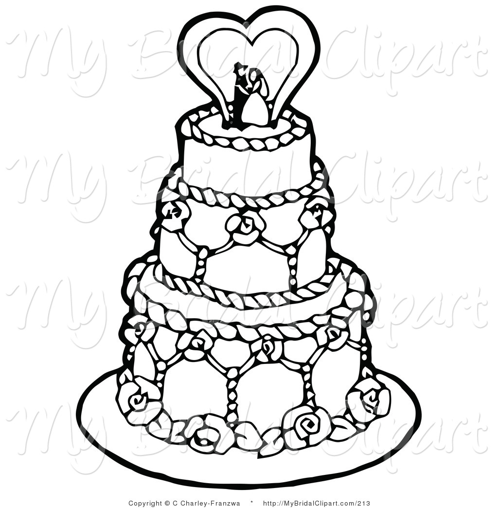 Clipart Of A Coloring Page Of A Black And White Tiered Wedding Cake