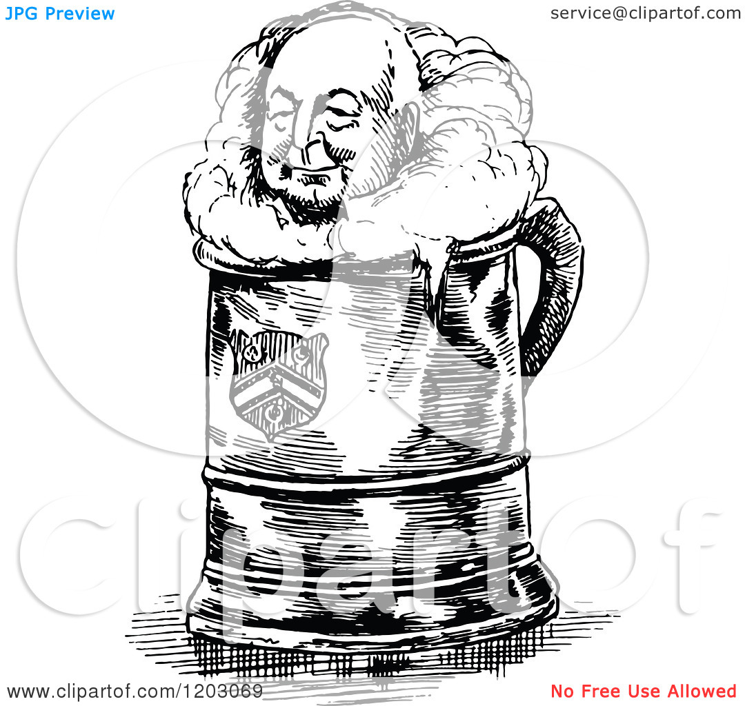 Clipart Of A Vintage Black And White Beer Man   Royalty Free Vector