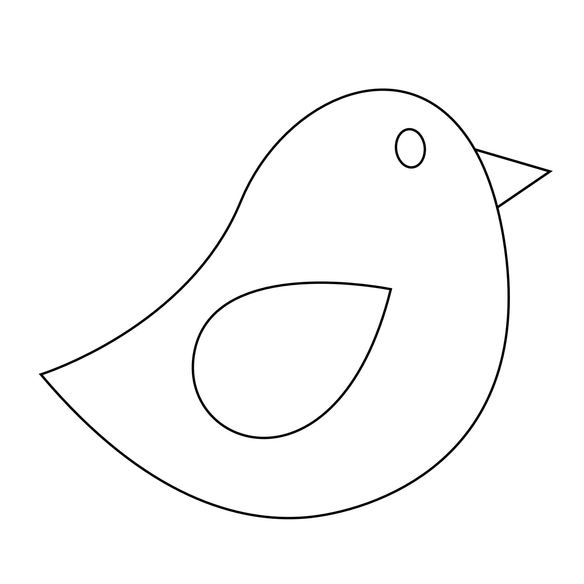 Colorful Animal Bird Twitter Black White Line Art Scalable Vector