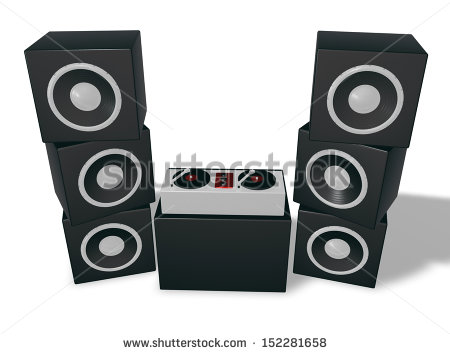 Dj Turntables And Speaker Tower   3d Illustration   Stock Photo