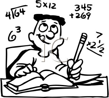 Free Clip Art Image  Black And White Cartoon Of A Boy Doing Math
