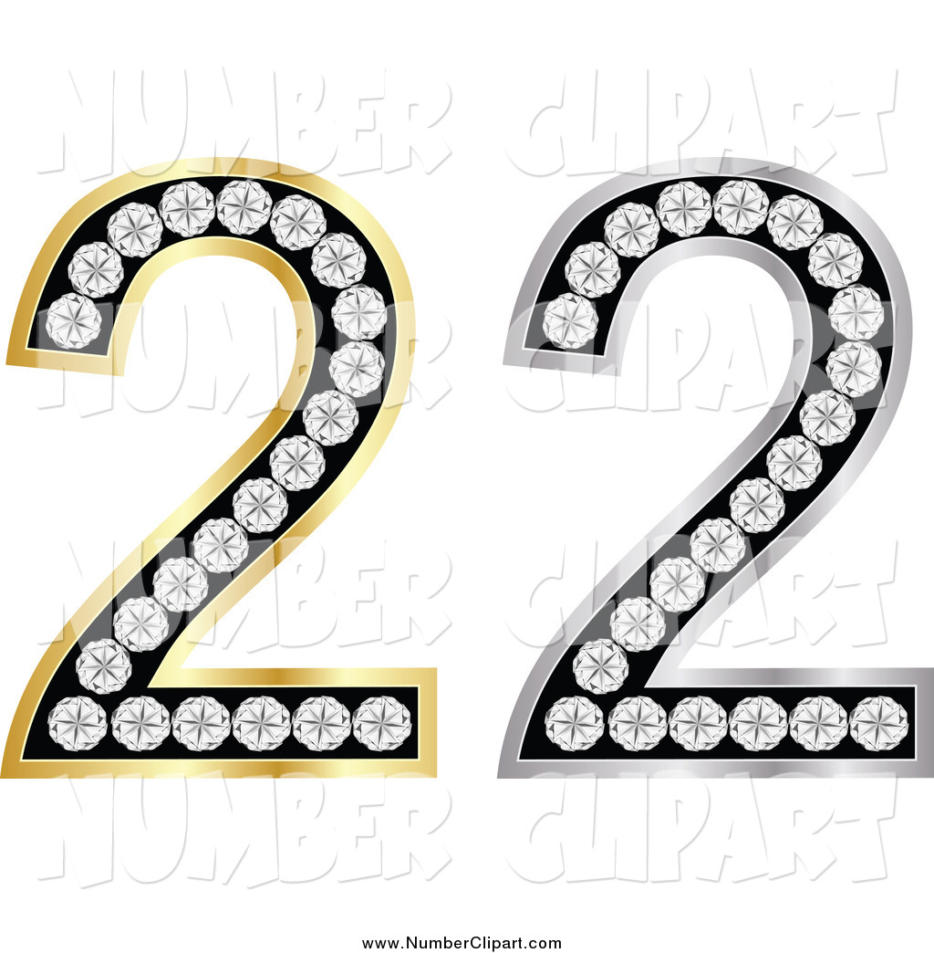 Larger Preview  Clip Art Of 3d Silver And Gold Diamond Number Twos By