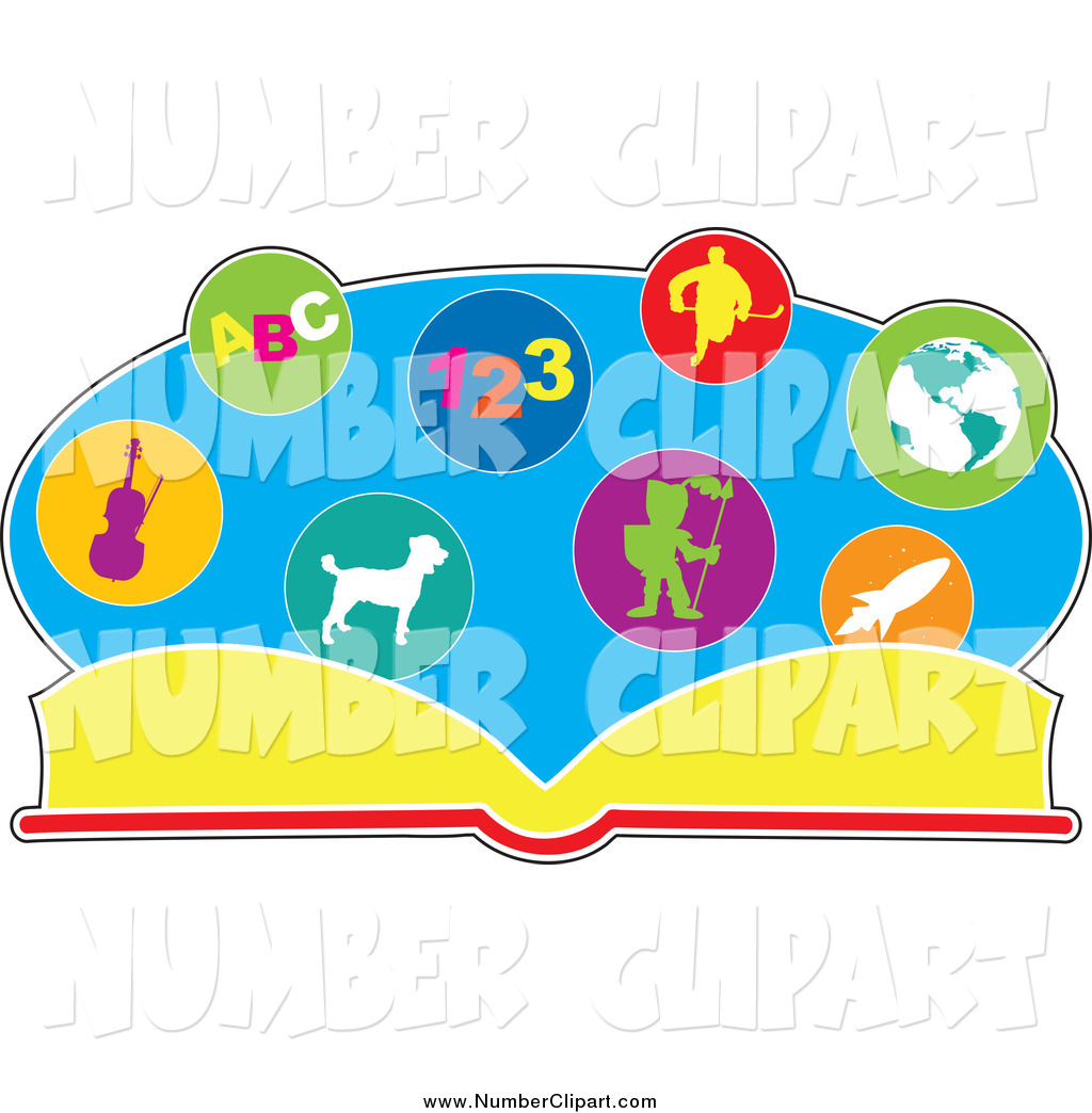 Larger Preview  Clip Art Of A School Book With Educational Pictures By