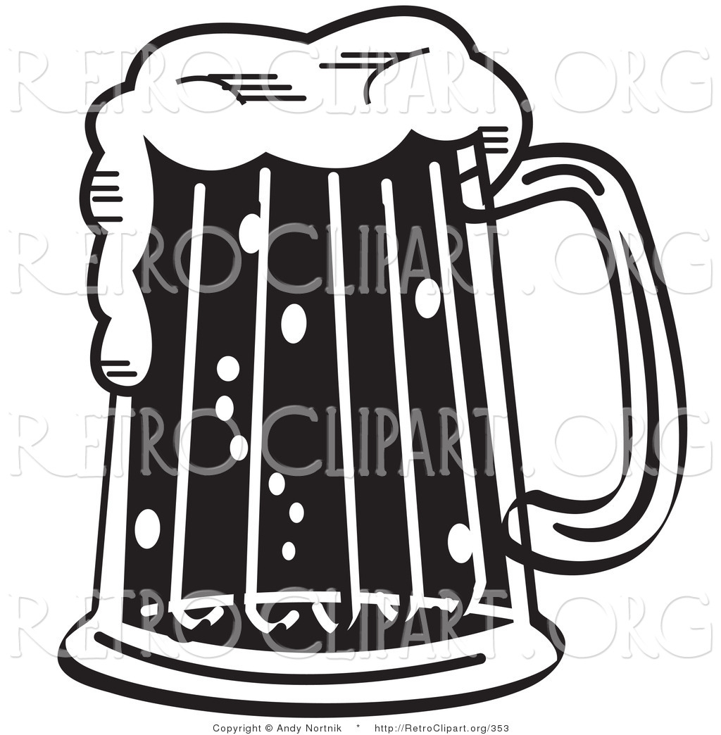 Retro Clipart Of A Black And White Frothy Beer Mug In A Bar By Andy